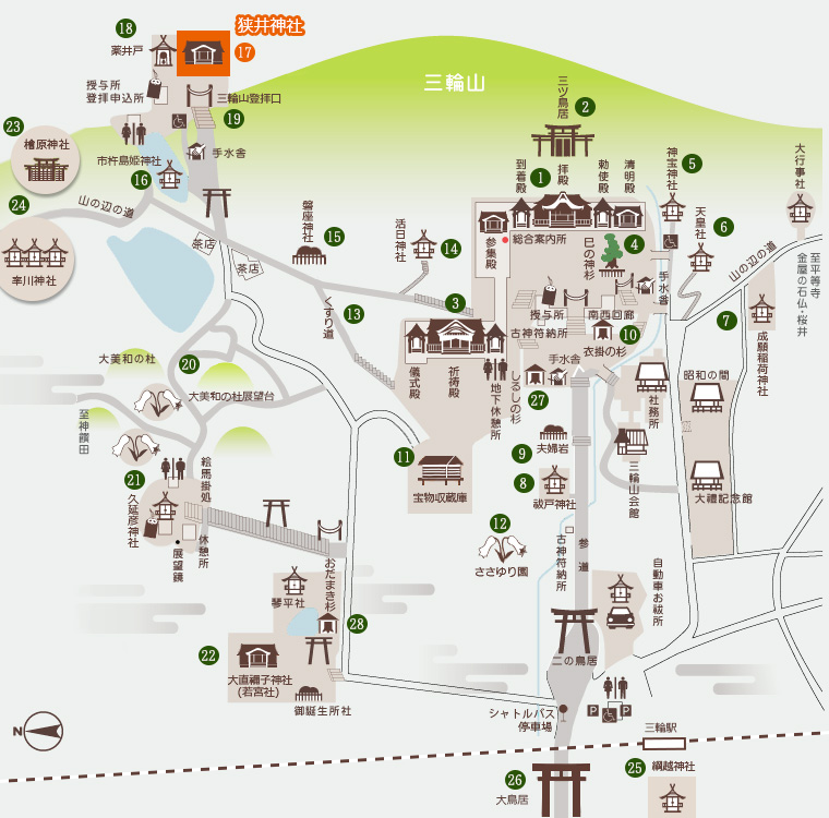 狭井神社 地図